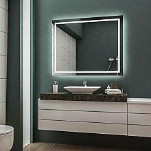 LED Badspiegel Badezimmerspiegel Wandspiegel Bad Spiegel - 3000K Warmweiß 100 cm Breit x 80 cm Hoch Allegro Licht umlaufend