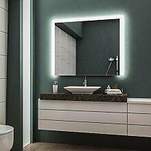 LED Badspiegel Badezimmerspiegel Wandspiegel Bad Spiegel - 3000K Warmweiß 100 cm Breit x 80 cm Hoch Andante Licht seitlich & oben