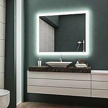 LED Badspiegel Badezimmerspiegel Wandspiegel Bad Spiegel - 4000K neutralweiß 100 cm Breit x 60 cm Hoch Andante Licht umlaufend
