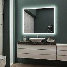 LED Badspiegel Badezimmerspiegel Wandspiegel Bad Spiegel - Warmweiß 120 cm Breit x 80 cm Hoch Forte Licht umlaufend