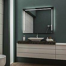 LED Badspiegel Badezimmerspiegel Wandspiegel Bad Spiegel - Warmweiß 80 cm Breit x 70 cm Hoch Legato Licht seitlich & oben