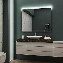 LED Badspiegel Badezimmerspiegel Wandspiegel Bad Spiegel - Warmweiß 130 cm Breit x 80 cm Hoch Andante Licht oben