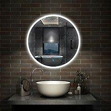 LED Badspiegel rund 60 cm Touch Beschlagfrei