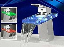 LED Beleuchtete Glas Waschtisch Armatur Wasserfall Neu | LED in Blau, Rot & Grün
