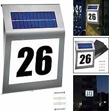 LED Beleuchtete Hausnummer Mit Solarhausnummer