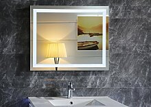 LED-Beleuchtung Badspiegel GS099N Lichtspiegel Wandspiegel Badzimmerspiegel Tageslichtweiß IP44 (80 x 60 cm)