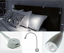 LED Bettleuchte Leselampe mit USB-Charger und
