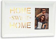 LED Bilderrahmen B x H x T: 29x19x3cm Home Sweet Home 10x15 Holz Weiß 6 LEDs Fotorahmen Einzelrahmen Dekoration Wanddekoration Geschenkidee