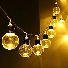 LED Birne Lichterkette,SUAVER Wasserdicht 2.5M 20LED solarbetriebene Party-Lichterkette led retro lampe Kugel Beleuchtung Dekolampe für Haus Dekoration, Garten, Party, Hochzeit, Grill, Weihnachten (Warmweiß)