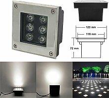 LED Boden Einbau-Strahler, LED Bodeneinbaustrahler 6W Naturweiß/Platz 230V Einbaustrahler Außenleuchte IP67