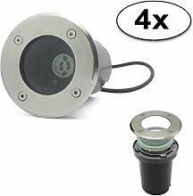 LED Bodeneinbaustrahler GU10 Strahler Leuchte Spotleuchte Durchschleifen(Rund ohne Leuchtmittel;4x Pack)