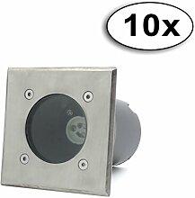 LED Bodeneinbaustrahler GU10 Strahler Leuchte Spotleuchte Durchschleifen(Quadrat ohne Leuchtmittel;10x Pack)