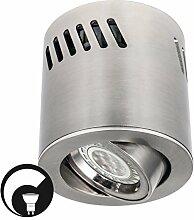 LED Deckenaufbaustrahler / Aufbauleuchte / Aufputz Deckenleuchte / schwenkbar / Aluminium / GU10-230V (RUND-123381) (DIMMBAR Warmweiß)