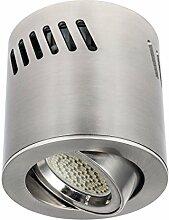LED Deckenaufbaustrahler / Aufbauleuchte / Aufputz Deckenleuchte / schwenkbar / Aluminium / GU10-230V (RUND-123381) (Warmweiß)