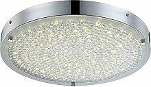 LED Deckenleuchte 1 flammig Deckenlampe Flurlampe mit Kristall rund (Deckenlicht, Deckenstrahler, Wohnzimmer, Küche, Schlafzimmer, 40 x 5 cm, inkl. Leuchtmittel 1 x 20 Watt, EEK A++)