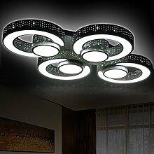 LED Deckenleuchte 2036-4 60w mit Fernbedienung Lichtfarbe/ Helligkeit einstellbar Acryl-Schirm weißlackierte Metallrahmen durchbohrte Design Energieeffizienzklasse: A+ LED Wohnzimmerleuchte Kronleuchte Pendelleuchte DeckenlampeDeckenstrahler LED Deckenleuchte Hängeleuchte Hängelampe LED lampe LED Leuchte Beleuchtung Einbauleuchte Wandleuchte Spot Lüster
