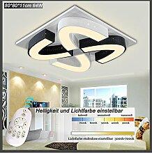 LED Deckenleuchte 2038WJ-80cm 64W. Mit Fernbedienung Lichtfarbe/Helligkeit einstellbar. Acryl-Schirm - schwarz und weiß lackierter Metallrahmen. Durchbohrtes Design LED Wohnzimmerleuchte Kronleuchte Pendelleuchte DeckenlampeDeckenstrahler LED Deckenleuchte Hängeleuchte Hängelampe LED lampe LED Leuchte Beleuchtung Einbauleuchte Wandleuchte Spot Lüster