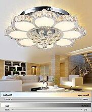 LED Deckenleuchte 3017-WJ-660 mm 132 W. Kristall 3x5 cm, Edelstahl, Acryl-Schirm mit Fernbedienung Lichtfarbe/Helligkeit steuerbar A+