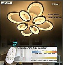 LED Deckenleuchte 6022 mit Fernbedienung Lichtfarbe/ Helligkeit einstellbar Acryl-Schirm weiß lackierte Metallrahmen (6022-8S 70*70*25cm LED 70W) LED Wohnzimmerleuchte Kronleuchte Pendelleuchte DeckenlampeDeckenstrahler LED Deckenleuchte Hängeleuchte Hängelampe LED lampe LED Leuchte Beleuchtung Einbauleuchte Wandleuchte Spot Lüster
