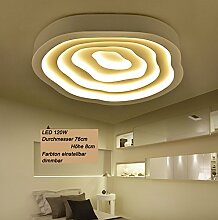 LED Deckenleuchte 6075 mit Fernbedienung Lichtfarbe/ Helligkeit einstellbar Acryl-Schirm weiß lackierte Metallrahmen (6075-76  ∅ 76cm LED 120W)