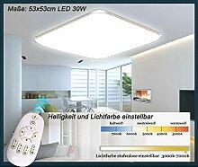 LED Deckenleuchte 6086-53x53cm Rahmen silber Fernbedienung Lichtfarbe/Helligkeit einstellbar extra dünn 10cm (6086-53x53cm 32W) LED Wohnzimmerleuchte Kronleuchte Pendelleuchte DeckenlampeDeckenstrahler LED Deckenleuchte Hängeleuchte Hängelampe LED lampe LED Leuchte Beleuchtung Einbauleuchte Wandleuchte Spot Lüster