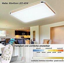 LED Deckenleuchte 6086-65x43cm Rahmen gold Fernbedienung Lichtfarbe/Helligkeit einstellbar extra dünn 10cm (6086-65x43cm 40W) LED Wohnzimmerleuchte Kronleuchte Pendelleuchte DeckenlampeDeckenstrahler LED Deckenleuchte Hängeleuchte Hängelampe LED lampe LED Leuchte Beleuchtung Einbauleuchte Wandleuchte Spot Lüster