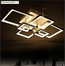 LED Deckenleuchte 6087-6 77*53 cm H 16 cm 60 W mit Fernbedienung Lichtfarbe/Helligkeit einstellbar, Acryl-Schirm, weiß lackierter Metallrahmen (6087-6 77*53 cm H 16 cm 60 W)