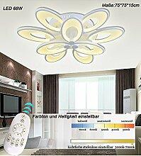 LED Deckenleuchte 8010WJ-6+3 75x75x15cm LED 68W Lichtfarbe einstellbar. Dimmbar. Acryl-Schirm, weiß lackierter Metallrahmen. Blumen Design. A+ (8010WJ-6+3 75x75x15cm LED 68W) LED Wohnzimmerleuchte Kronleuchte Pendelleuchte DeckenlampeDeckenstrahler LED Deckenleuchte Hängeleuchte Hängelampe LED lampe LED Leuchte Beleuchtung Einbauleuchte Wandleuchte Spot Lüster