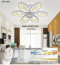 LED Deckenleuchte 8010WJ-6 65x65x12cm LED 42W Lichtfarbe einstellbar. Dimmbar. Acryl-Schirm, weiß lackierter Metallrahmen. Blumen Design. A+ (8010WJ-6 65x65x12cm LED 42W) LED Wohnzimmerleuchte Kronleuchte Pendelleuchte DeckenlampeDeckenstrahler LED Deckenleuchte Hängeleuchte Hängelampe LED lampe LED Leuchte Beleuchtung Einbauleuchte Wandleuchte Spot Lüster