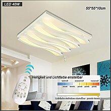 LED Deckenleuchte 8028 mit Fernbedienung Lichtfarbe/ Helligkeit einstellbar Acryl-Schirm weiß lackierte Metallrahmen Segelboot Design (8028-4-55*55*10cm LED 40W) LED Wohnzimmerleuchte Kronleuchte Pendelleuchte DeckenlampeDeckenstrahler LED Deckenleuchte Hängeleuchte Hängelampe LED lampe LED Leuchte Beleuchtung Einbauleuchte Wandleuchte Spot Lüster
