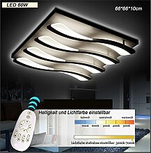 LED Deckenleuchte 8028 mit Fernbedienung Lichtfarbe/ Helligkeit einstellbar Acryl-Schirm weiß lackierte Metallrahmen Segelboot Design (8028-4-66*66*10cm LED 60W) LED Wohnzimmerleuchte Kronleuchte Pendelleuchte DeckenlampeDeckenstrahler LED Deckenleuchte Hängeleuchte Hängelampe LED lampe LED Leuchte Beleuchtung Einbauleuchte Wandleuchte Spot Lüster