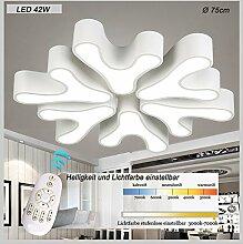LED Deckenleuchte 8033 mit Fernbedienung. Lichtfarbe/Helligkeit einstellbar. Acryl-Schirm, weiß lackierter Metallrahmen (8033-6fl 75*75*11cm LED 42W) LED Wohnzimmerleuchte Kronleuchte Pendelleuchte DeckenlampeDeckenstrahler LED Deckenleuchte Hängeleuchte Hängelampe LED lampe LED Leuchte Beleuchtung Einbauleuchte Wandleuchte Spot Lüster