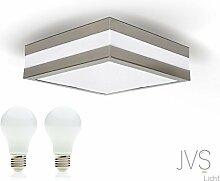 LED Deckenleuchte Bad-Lampe Aussen-Leuchte PROVANCE E27 230V IP44 (inkl. 2x LED 6W Warmweiss) LED Lampe Wandleuchte LED-Deckenleuchte Außenleuchte Wandstrahler LED Leuchte Aussenbeleuchtung Wohnzimmerlampe für Badezimmer Küche Flur Badlampe Badleuchte Eckig Quadratisch