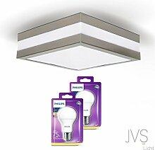 LED Deckenleuchte Bad-Lampe Aussen-Leuchte PROVANCE E27 230V IP44 (inkl. 2x LED 11W Warmweiss PHILIPS) LED Lampe Wandleuchte LED-Deckenleuchte Außenleuchte Wandstrahler LED Leuchte Aussenbeleuchtung Wohnzimmerlampe für Badezimmer Küche Flur Badlampe Badleuchte Eckig Quadratisch