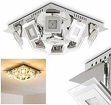 LED Deckenleuchte Cerreto, eckige Deckenlampe in