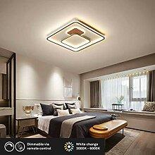 LED-Deckenleuchte, Holz Deckenlampe, Eckig