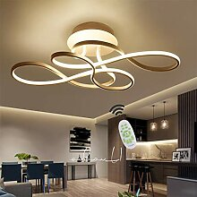 Gold LED Deckenleuchte Dimmbar Wohnzimmerlampe Deckenlampe 54W Modern Aluminium Material Acryl Lampenschirm Designer Lampen 3000K-6500K Fernbedienung Licht Helligkeit Einstellbar Schlafzimmer Lampe