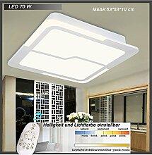 LED Deckenleuchte Y8121-530 LED 70W Rahmenlicht 40W warmweiß 4000k +Innenlicht 30W mit Fernbedienung Lichtfarbe/ Helligkeit einstellbar weiß lackierte Metallrahmen A+ (Y8121-530*530mm 70W) LED Wohnzimmerleuchte Kronleuchte Pendelleuchte DeckenlampeDeckenstrahler LED Deckenleuchte Hängeleuchte Hängelampe LED lampe LED Leuchte Beleuchtung Einbauleuchte Wandleuchte Spot Lüster