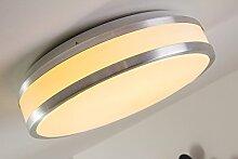 LED-Deckenlicht Sora aus Metall und Kunststoff im modernen Design – Badezimmer-Lampe mit warmweißem Licht aus gebürstetem Aluminium – Robuste Badlampe in einer hochwertigen Verarbeitung