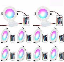 LED Deckenspots Dimmbar 16 Farben 10 Stück 5W RGB