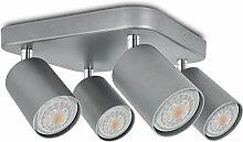 LED Deckenstrahler 4-flammig dreh- & schwenkbar Silber - Spotreihe 4er - Spotleuchte inkl. 4 x LED Leuchtmittel warmweiß GU10