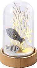 LED-Deko Fische unter Glasglocke, beige