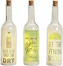 LED Deko Flasche 3er Set - 5 LED/Motiv Gin -