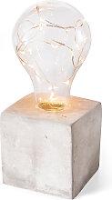 LED Deko-Lampe auf Betonsockel, grau