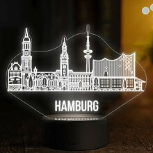 LED Deko Lampe Hamburg Skyline - Elbeffekt -