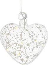 LED Dekohänger HERZ ROMANTIK Glas klar Ø 10cm 8