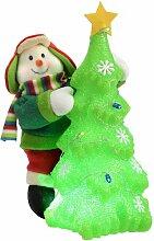 LED-Dekorationsfigur Schneemann mit Weihnachtsbaum