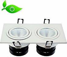 LED Design Doppel-Einbaustrahler 12W, Aluminium/Glas, Top Qualität! 4500K neutralweiß, 1020 Lumen, Einbauleuchte Spot Decken Lampe Qualitätsleuchtmittel von Sveton