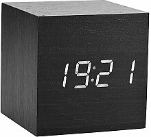 LED Digital Wecker, hölzerne Uhr für