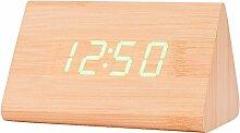 LED Digital Wecker, Holz Uhr für Schlafzimmer